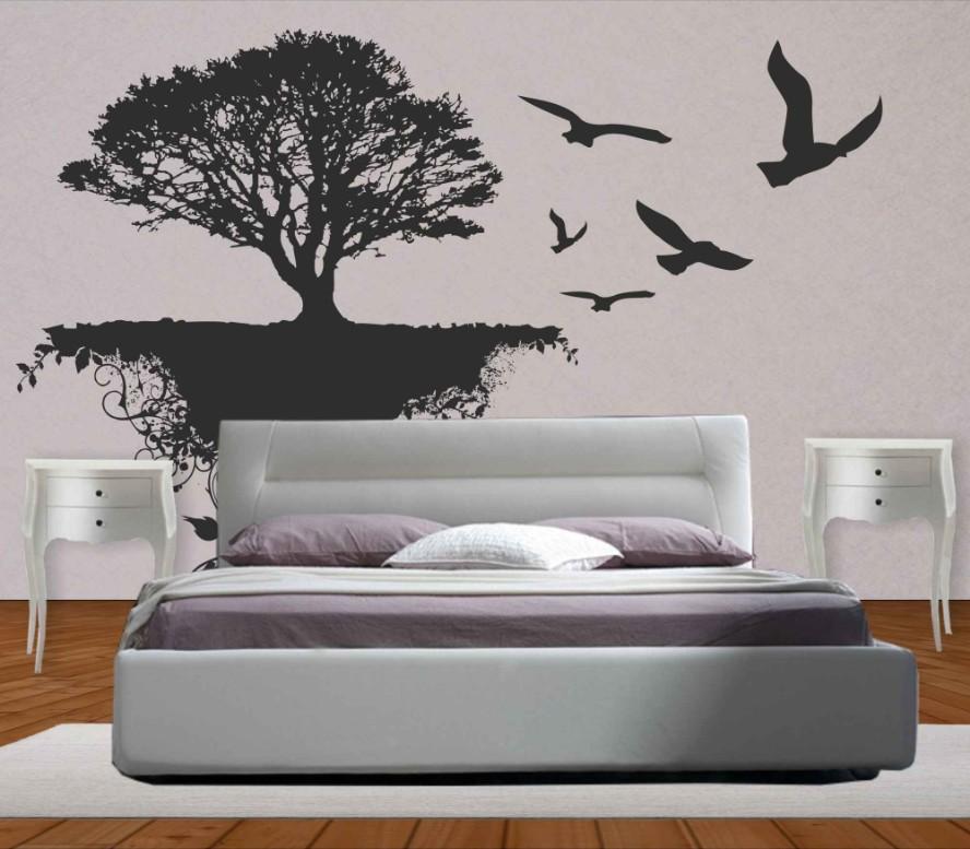 Adesivo Murale albero e uccelli